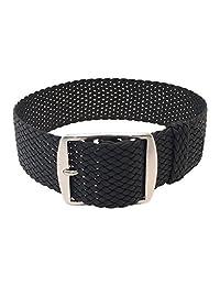 Wrist And Style Perlon Watch Strap (20mm, Black)