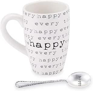 Mud Pie Kitchen Happy Home 长款陶瓷马克杯和勺子套装 白色 均码