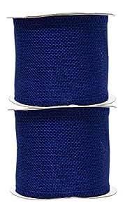 Mandala Crafts 粗麻布丝带,黄麻织物条纹线轴,用于乡村装饰,花环形,节日装饰,礼品包装 皇家蓝 3英寸 Burlap Ribbon