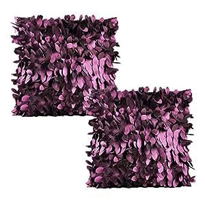 """WOMHOPE 2 件装 - 3D 纯色缎面花叶方形抱枕套床沙发靠垫枕套艺术装饰枕套婚礼抱枕套 紫色 17"""" WXJJ0071-PU"""