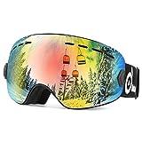 Odoland 儿童及青少年滑雪护目镜,防雾防紫外线雪护目镜兼容滑雪头盔,多色