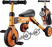 2 合 1 三轮车适合 3 岁 - 2-4 岁婴儿三轮车完美作为折叠三轮车适合 2 岁幼儿或生日礼物,适合 2 岁儿童三轮车幼儿自行车非常适合男孩女孩