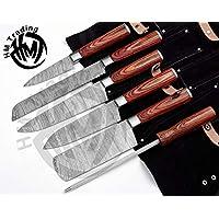 HM-(棕色)定制大马士革钢 #6 件套专业烧烤/厨房刀具圆手柄套装配有甜美皮革滚轮套装 (3703)