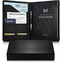 NERO MANETTI - 皮革组合文件夹专业笔记本 - 商务PU皮革组合休闲笔记本夹,法律文件包/女士/男士黑色专业笔记本笔记本