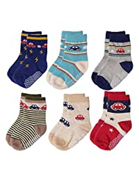12 Pairs Baby Boys Toddler Non Skid Cotton Socks with Grip by Flanhiri  6 Designs/ Set 3 1-3 Years