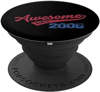 Awesome Since 2006 年老式学校棒球 13 岁生日礼物 PopSockets 手机和平板电脑抓握支架260027  黑色