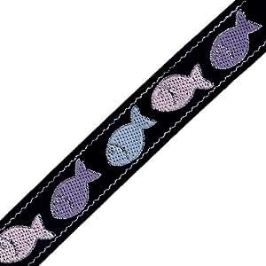 Venus Ribbon 5/8-Inch Dancing Fish Jacquard, Dark Navy/Light Pink/Multi, 5-Yard