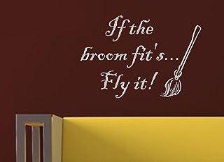 Vinylsay If The Broom Fits Fly it 万圣节墙贴 Gloss Light Grey 22-Inch x 15-Inch rbg-ua-gb4637