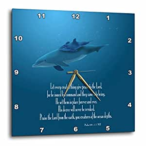 3dRose LLC Mother and Baby Dolphin Swimming in The Aqua Colored Ocean with The Bible Verse Psalm 148 V 5-7 10 by 10-Inch Wall Clock