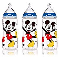 NUK Disney Mickey Mouse Orthodontic Bottle with Silicone Nipple, 10-Ounce, 3 Count