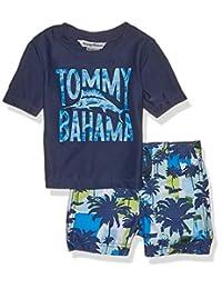 Tommy Bahama 男婴夏威夷四分之一拉链袖*衣游泳短裤套装