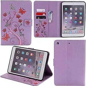 iPad mini 123手机壳显示卡 solts 支架式 PU 皮革钱包手机壳 [ 卡插槽 & 金钱支架 ] 适用于 iPad 迷你防护现金袋保护套蝴蝶保护套适用于 Apple iPad mini 123 紫色