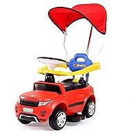 儿童电动车宝宝玩具四轮汽车可坐人护栏推杆婴儿滑行学步童车 充电器配有所栏 有推杆 配有力洗切换可推可电动可前进后退-8902 (红色带蓬)