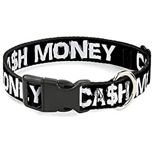 "带扣塑料夹领 CA$H MONEY Black/White 1.5"" Wide - Fits 16-23"" Neck - Medium"