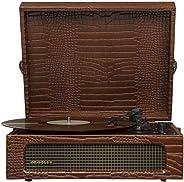 Crosley CR8017A-BR Voyager 復古便攜式轉盤帶藍牙接收器和內置揚聲器,棕色