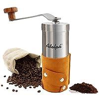 Adolph 不锈钢便携式咖啡磨豆机 手摇磨豆机 磨粉机 家用咖啡豆粉碎机 咖啡研磨机(手工皮革包裹)A-108