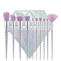 SJZ TECH 10pcs 独角兽设计手柄形状化妆刷工具套装白色*合成粉底刷眼影 blusher 10Pcs Rainbow Hair With Diamond Bag