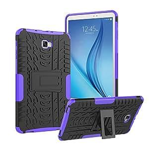 三星 Galaxy Tab A 10.1 手机壳,Roiskin 重型混合抗冲击坚固装甲保护壳带支架,适用于三星 Galaxy Tab A 10.1 英寸 2016 平板电脑(SM-T580/SM-T585,无钢笔版本) 紫色