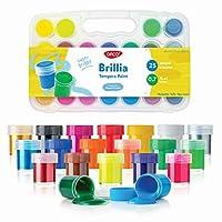 DACO Brillia Tempera 绘画套装 25 种颜色古士艺术用品儿童用 0.7 液盎司(20 毫升)桶,带塑料收纳盒 | 学校、艺术和手工艺品、手指油漆、帆布画