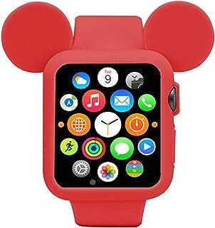 Navor 软硅胶保护套套套,迪士尼人物米老鼠耳朵兼容苹果手表 38mm 系列 1 2 3 [IWC-MK-38] Red (38mm)