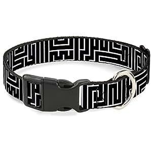 "带扣塑料夹领 Maze Black/White/Red 1.5"" Wide - Fits 16-23"" Neck - Medium"