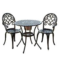 百伽 美亚同款户外家具阳台桌椅三件套全铸铝露天庭院桌椅组合52255【亚马逊自营,供应商配送】