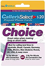 $20 来电者选择电话卡,便宜的美国和国际长途电话。 每分钟 1 分,49% 连接费或 2.9 美分,50 个国家/地区不收取连接费用