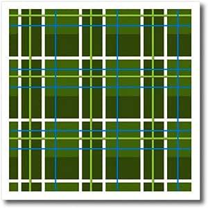 3dRose ht_12162_1 绿色格纹印花热转印,20.32 x 20.32 cm