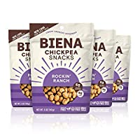 BIENA Non-GMO Roasted Chickpea Snacks, Rockin' Ranch, 5 Ounce (Pack of 4)