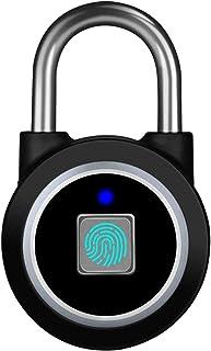 指纹挂锁,蓝牙锁,APP,IP65 防水,MEGAFEIS 智能挂锁带无钥匙生物学,适用于健身房、运动、自行车、学校、户外、栅栏和存放 黑色 FB