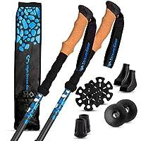 專業步行者和徒步者設計的高流裝備遠足杖真軟木握把 – 超輕 – 伸縮緊湊型遠足杖
