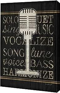 "PrintArt GW-POD-48-JP4818-8x12""Music Microphone"" 由 Jennifer Pugh 画廊装裱艺术微喷油画艺术印刷品 黑色 16"" x 24"" GW-POD-48-JP4818-16x24"
