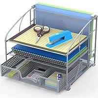 办公桌收纳盒 3 托盘带滑动抽屉和悬挂式文件架 银色