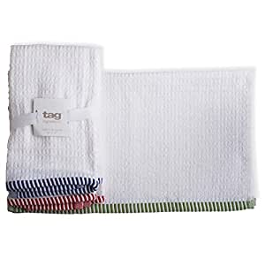 标签 730828 爆米花编织条拖把毛巾,16 x 19 英寸,多色,3 件套