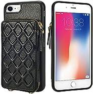 LAMEEKU 拉链钱包手机壳兼容 iPhone SE 2020,iPhone 8 卡包手机壳带皮革卡槽手带斜挎链,iPhone SE(2nd)/8/7 4.7 英寸iPhone SE 2020 / 7 / 8 4.7&