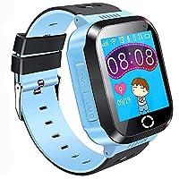 儿童 GPS 智能手表手机,1.44 英寸触摸屏智能手表手链适合儿童女孩男孩,带摄像头计步器防丢失 SOS 兼容 iPhone Android 蓝色