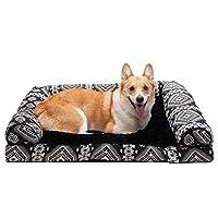 Furhaven 宠物狗床 | 枕头靠垫传统沙发和豪华矫正矩形泡沫床垫宠物床 w/可拆卸狗和猫罩——多种颜色和款式可选 Kilim Black Medallion 大