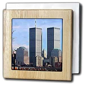 3dRose nh_682_1 世界贸易中心 - 瓷砖餐巾架,15.24cm