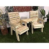 Churnet Valley 花园家具 CLOVER LOVE SEATS ANGLED TRAY,自然色