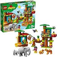 LEGO 10906 DUPLO Town 热带岛建筑玩具套装,探险学习玩具,适合 2-5 岁幼儿,带 6 个杜波动物公仔