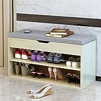 简约现代时尚床尾试鞋木质布艺沙发换鞋收纳储物家用鞋柜式鞋凳 (樱枫木灰面A款)