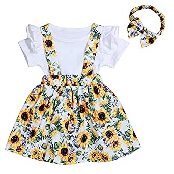 婴幼儿女宝宝衣服褶皱无袖夏季波西米亚花卉向日葵裙带头带裙套装 C 白色 6-12 Months