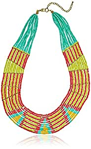 Bright Multi-Color Beaded Collar Statement Necklace