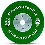 ProSource 竞技 颜色训练 保险杠板,橡胶带钢芯,25-55 磅,经校准用于健身,举重训练
