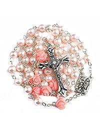 Nazareth Store 天主教粉色珍珠念珠项链 6 件玫瑰花、Lourdes Medal & Cross NS
