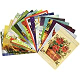 Traditional Christmas Holiday Greeting Cards, Assorted Designs, 50 Count, 4.625