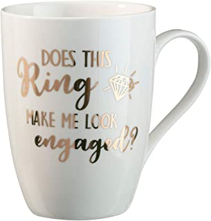 Lillian Rose CM100 DR Ring Make Me Look Engaged Coffee Mug, Height 4.25 inches, Cream