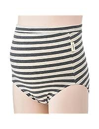 犬印本铺 腰部舒适孕妇内裤 条纹图案 SH2484 炭灰色 ML