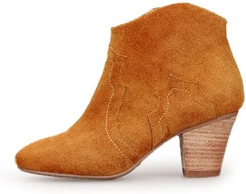她遇 秋季短靴女韩版真皮女靴及裸靴子粗跟踝靴高跟骑士靴 棕色 37