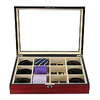 展示盒适用于 12 个领带、腰带和配饰樱桃木收纳盒